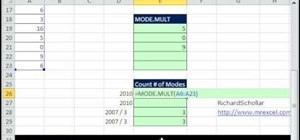 List all modes in a multimodal data set in MS Excel
