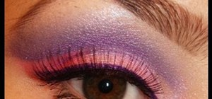 Create a sheer mineral purple & pink eye shadow look