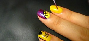 Create a LA Lakers purple and yellow nail look