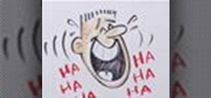 Draw a cartoon of a laughing person