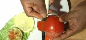 Carve tomato roses