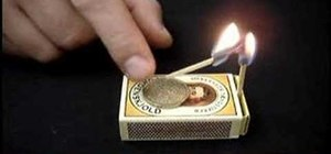 "Do the ""trapped coin"" matchbox bar trick"
