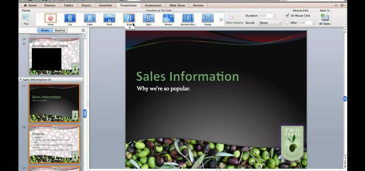 How to apply slide transition effects to a powerpoint for mac 2011 how to apply slide transition effects to a powerpoint for mac 2011 presentation microsoft office wonderhowto toneelgroepblik Image collections