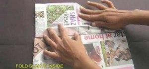 Make a paper cap from a half sheet of newspaper