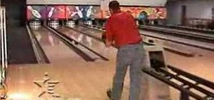 Do a two-handed delivery (back) in bowling