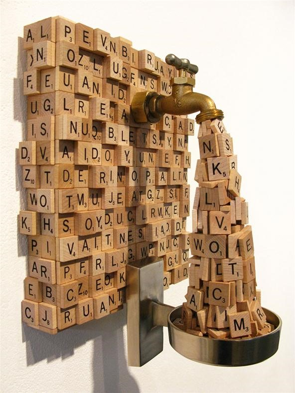 Faucet Sculpture Spews Out Scrabble Tiles
