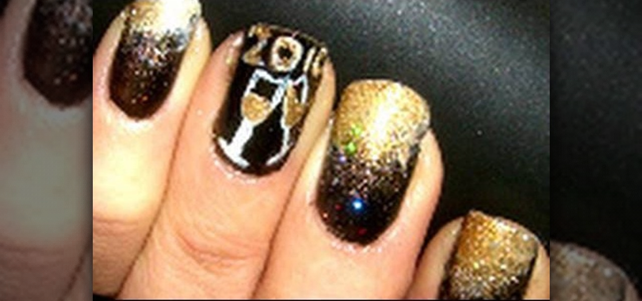 How to Apply gold champagne New Years nail art for New Years « Nails ...