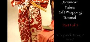 "Cloth gift wrap two bottles using ""tenugui"" technique"