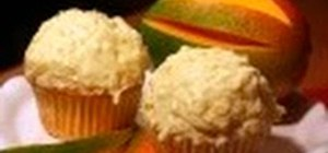 Bake and decorate delicious mango coconut cupcakes