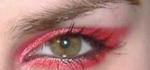 Create a punk emo red Avril Lavigne inspired eye look