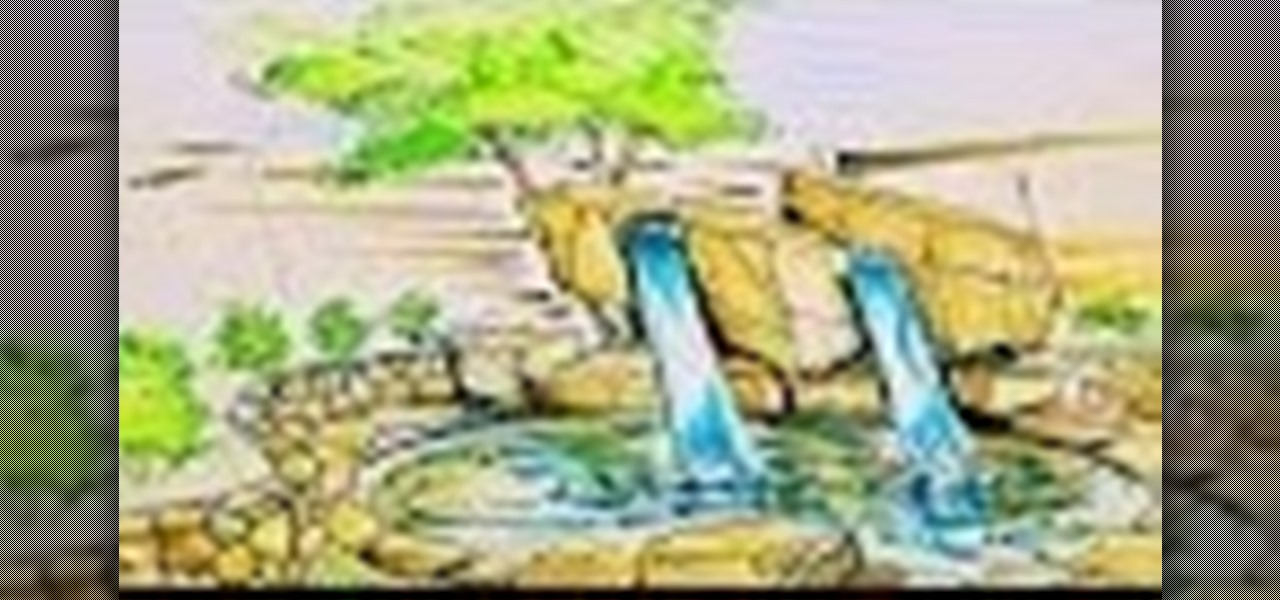 how to draw a waterfall video