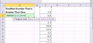 Find the smallest number greater than zero in MS Excel