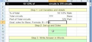 Solve for base in a Microsoft Excel percent formula