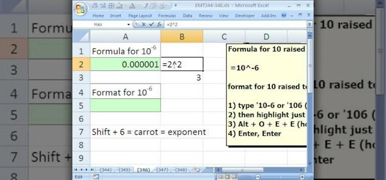 How To Format Numbers To Display Exponents In Microsoft Excel