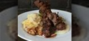 Make coffee-rubbed beef tenderloin skewers w/ mustard