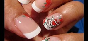 Paint biker skull & crossbones nails