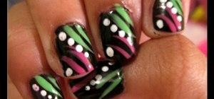 Paint funky neon nail art