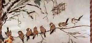 Draw eight lucky sparrows - Chinese brush painting
