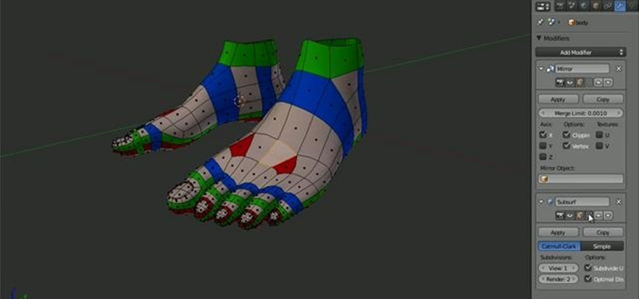 Blender Character Modeling 10 Of 10 : How to model the topology of a human foot in blender
