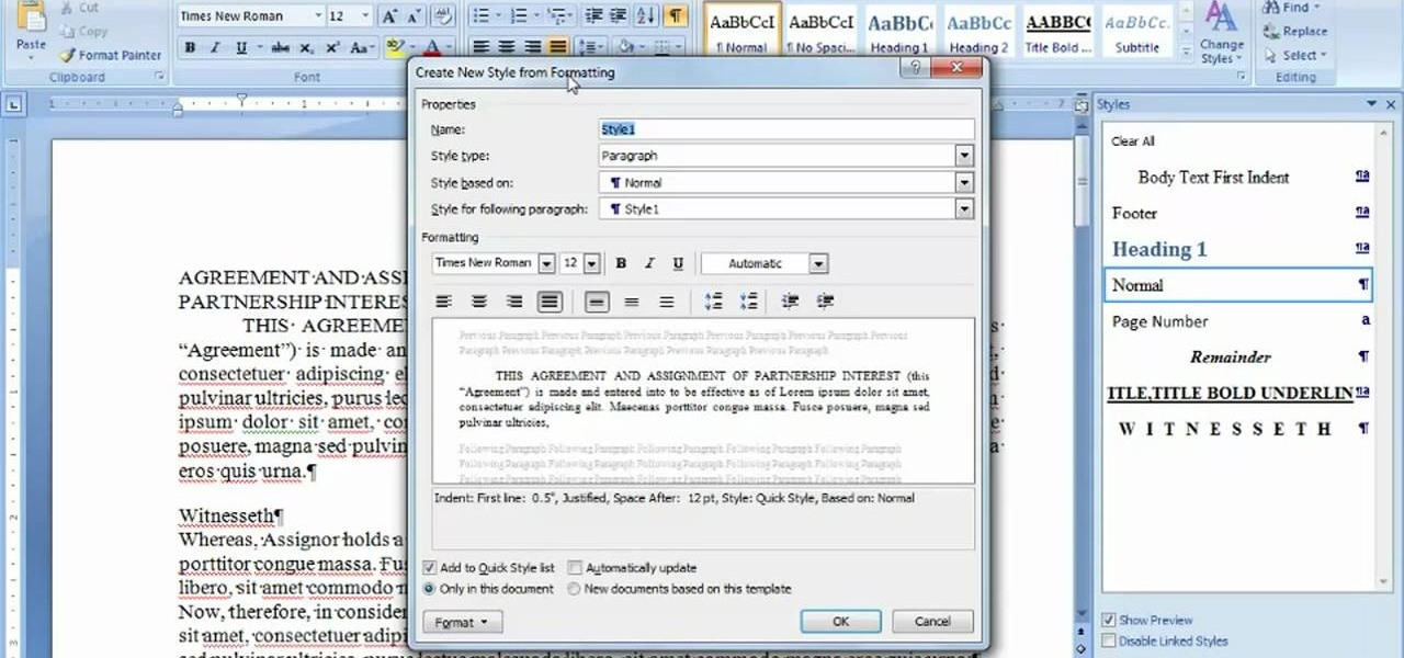 How To Create And Use Styles In Microsoft Office Word 2007