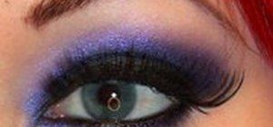 Create a smokey black & violet eye makeup look