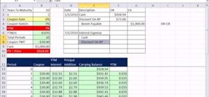 Record bond discount & premium journal entries in Microsoft Excel