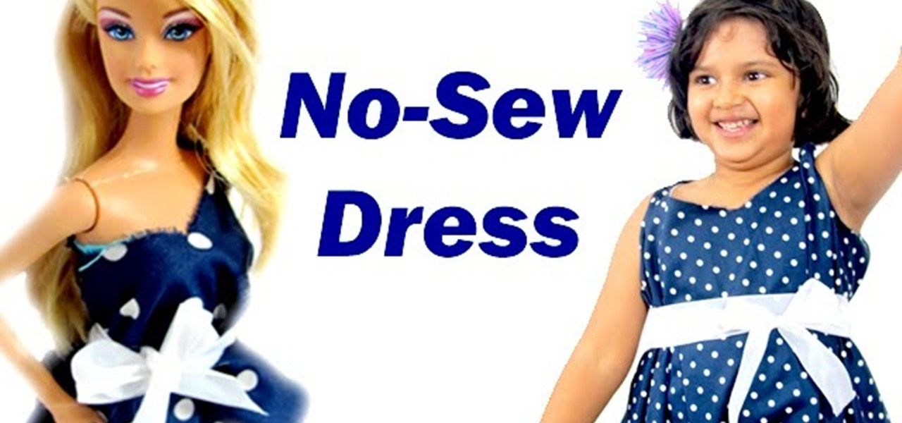 Make an Easy No-Sew (No Sew) Dress for Barbie and You