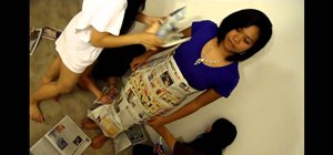 Make a mermaid wedding dress out of newspapers