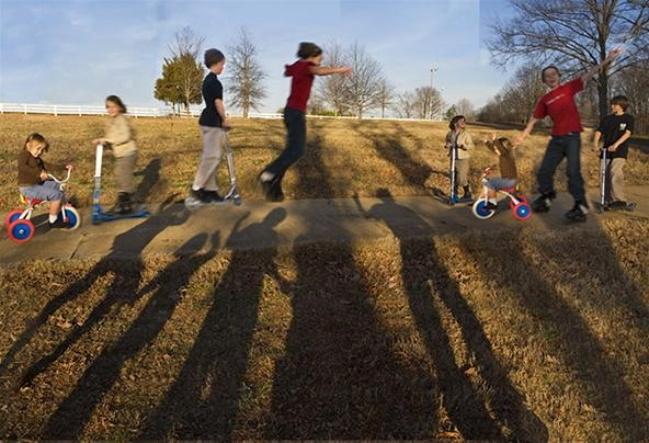 Moving Kids and Still Shadows