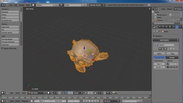 Add seams to a model when working inside Blender 2.5