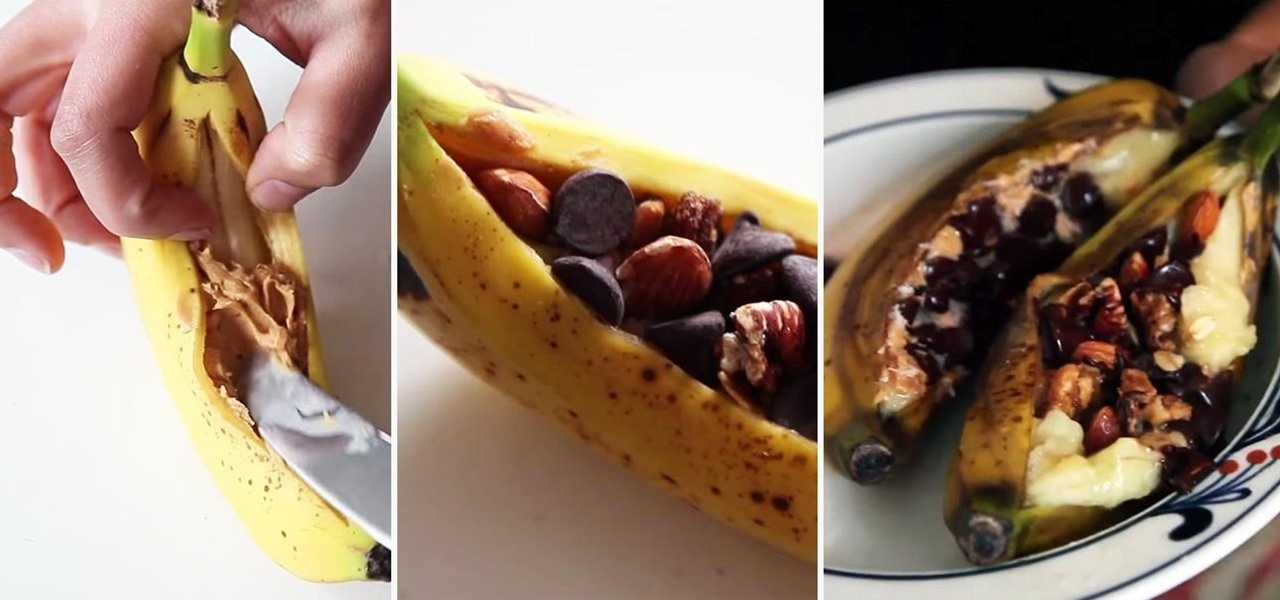 Make Microwavable Banana Boats in Their Peels