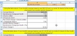 Find a checking account's service charge MS Excel
