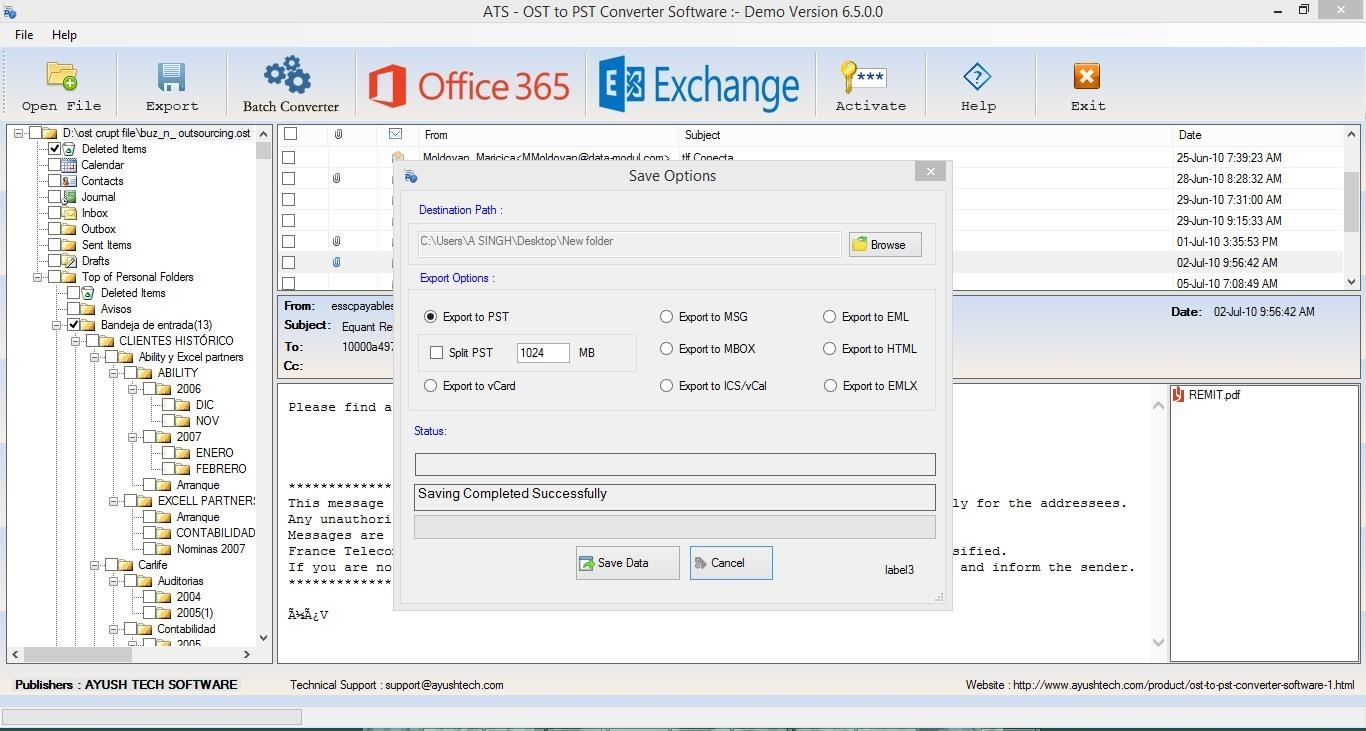 Thanks, Recover Data Exchange OST File to PST File with Export Office 365