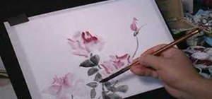 Paint roses with wet-in-wet watercolors on rice paper