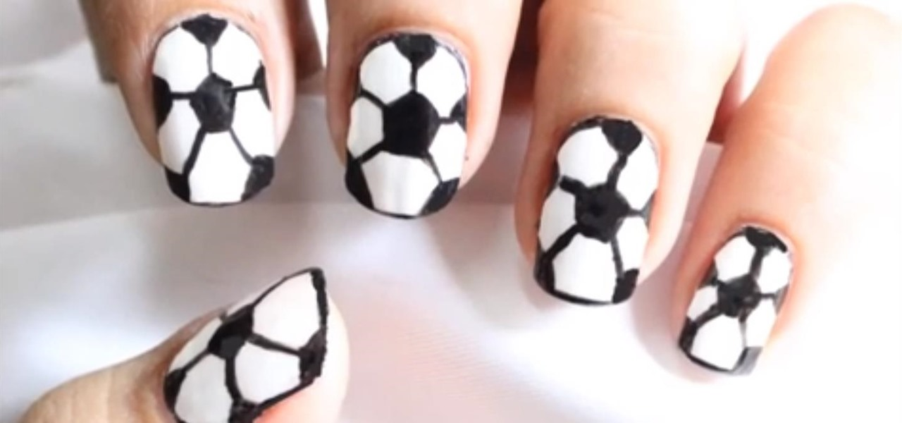 Drawing Lines On Nails : How to draw football nail art in easy steps « nails