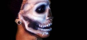 Create an awesome Halloween skull mask with makeup