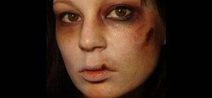 Create a nasty bruised and bleeding zombie look for Halloween