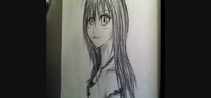 Draw a manga girl with long hair
