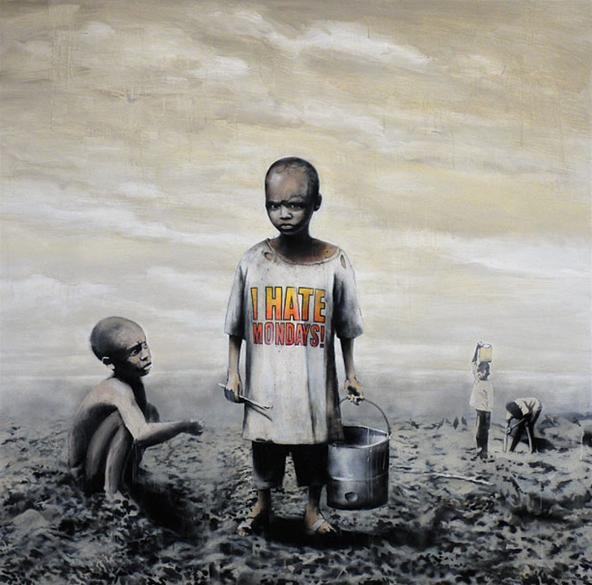 Banksy sponsors free street art at the Geffen Contemporary on Mondays!