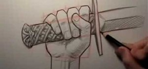 Draw a hand holding a sword