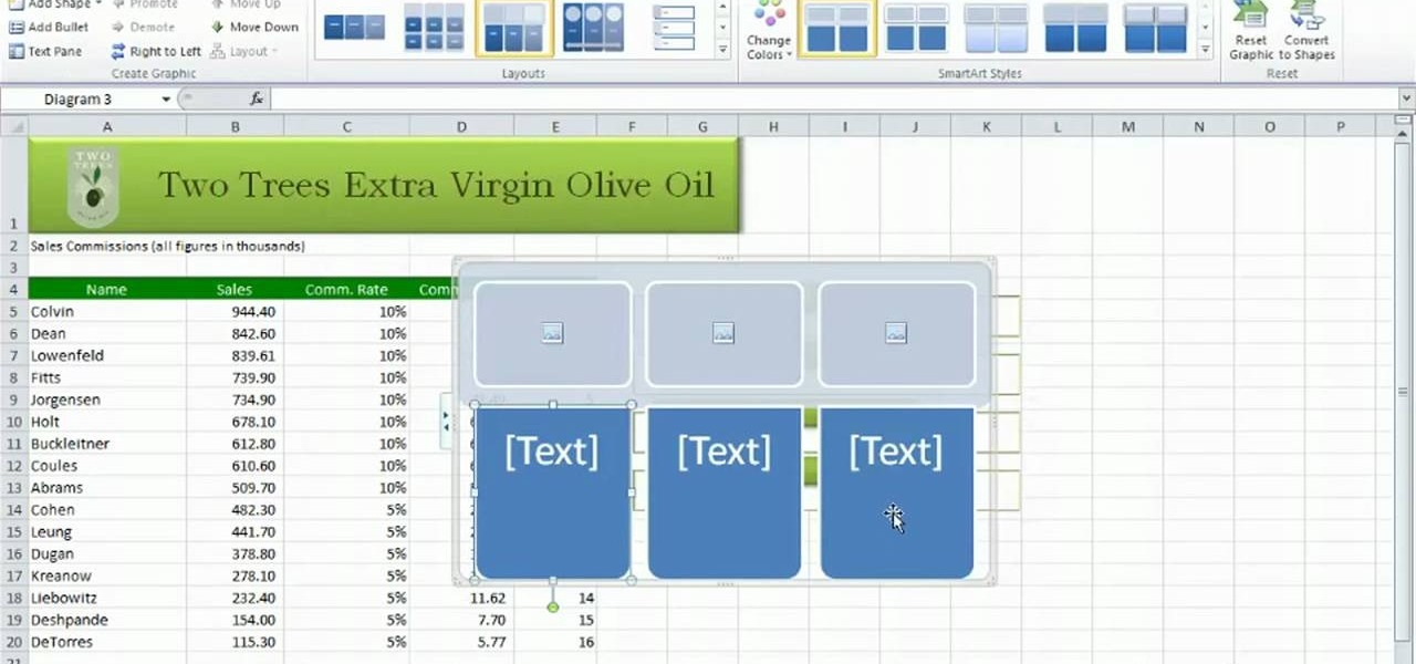 how to insert smartart into microsoft excel 2010