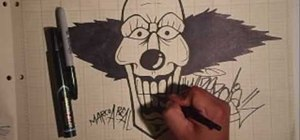 Draw a graffiti-style clown