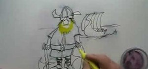 Draw and color a cartoon Viking warrior