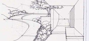 Draw a complex levels garden with a walkway