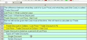Calculate invoices and trade discounts in MS Excel