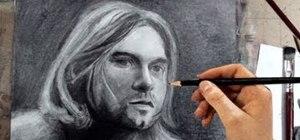 Create a portrait pencil drawing of Kurt Cobain from Nirvana