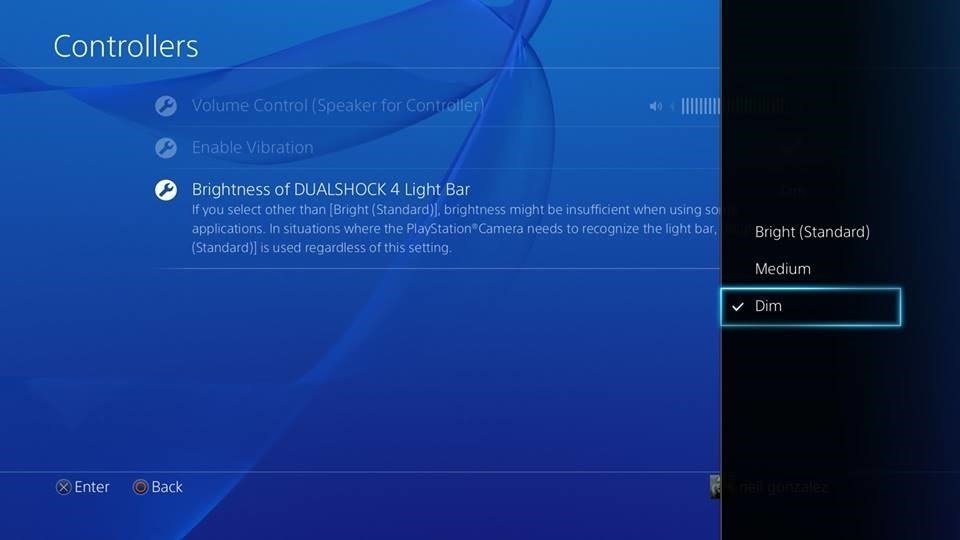How to dim the light on your ps4s dualshock controller you will then have your choice of having your light bar brightness set to bright standard medium or dim the changes will be applied to the controller aloadofball Choice Image