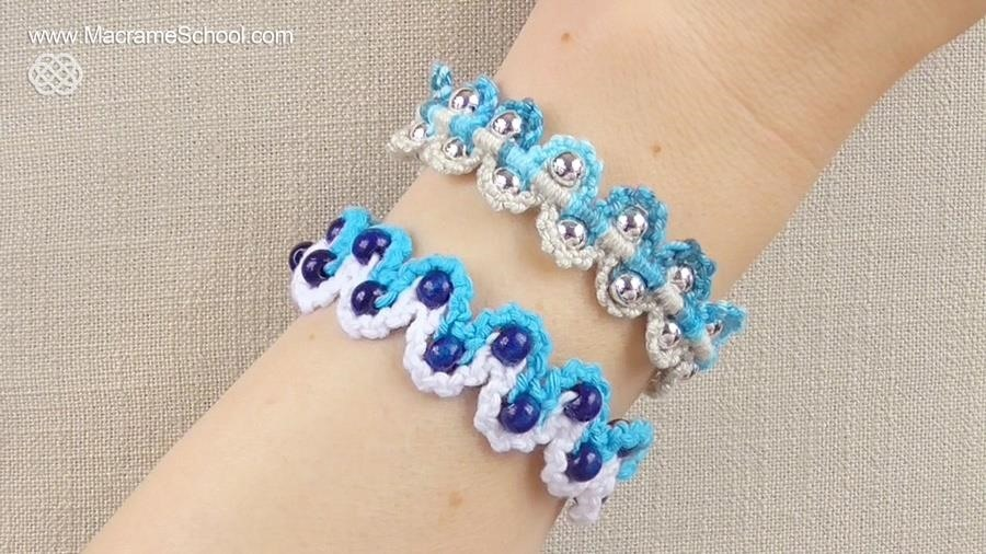 How to Make a Macrame Bracelet with Waves and Beads