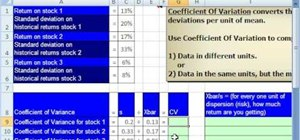 Calculate the coefficient of variation (CV) in Excel