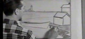 Draw a seaport village with a nostalgic 50's film